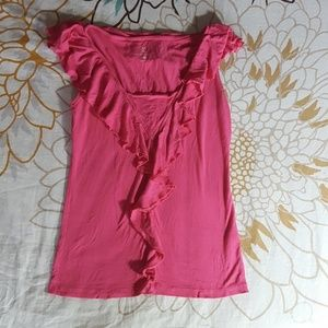 New York & Co. pink tank top with ruffles sz S